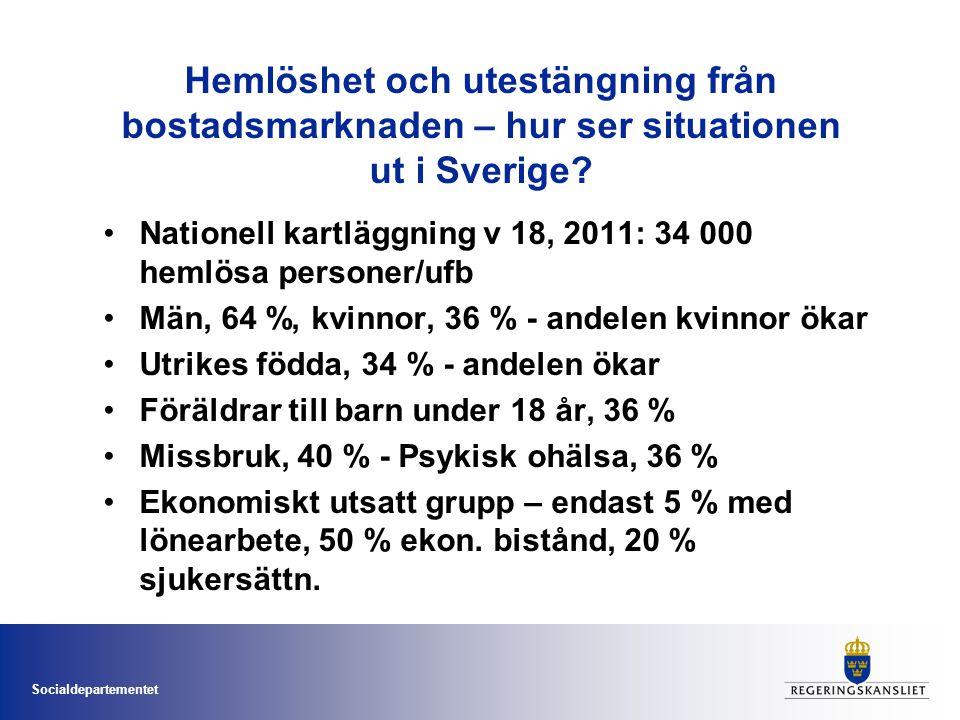 Socialdepartementet Hemlöshet och utestängning från bostadsmarknaden – hur ser situationen ut i Sverige.