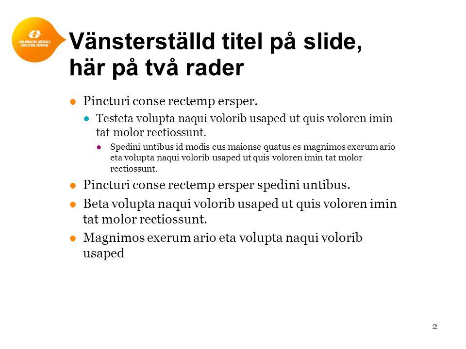 Vänsterställd titel på slide, här på två rader ●Pincturi conse rectemp ersper. ●Testeta volupta naqui volorib usaped ut quis voloren imin tat molor re