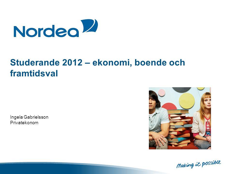 Studerande 2012 – ekonomi, boende och framtidsval Ingela Gabrielsson Privatekonom