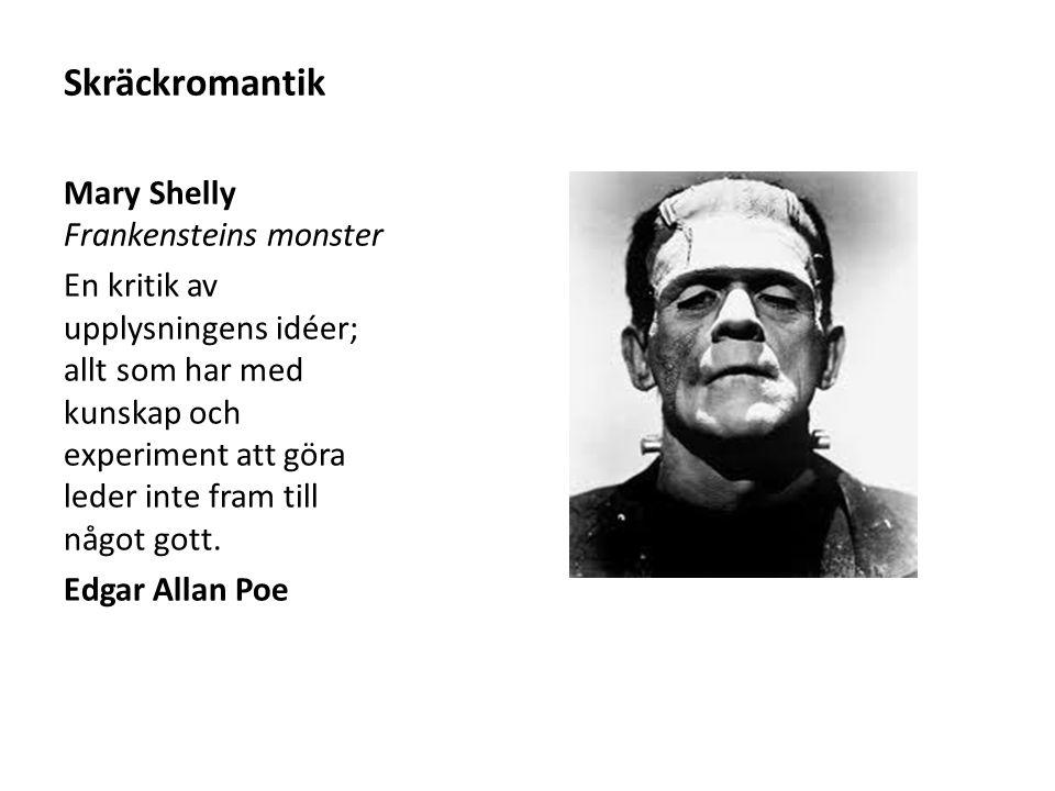 Skräckromantik Mary Shelly Frankensteins monster En kritik av upplysningens idéer; allt som har med kunskap och experiment att göra leder inte fram ti