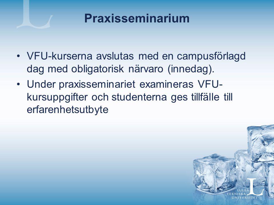 Praxisseminarium VFU-kurserna avslutas med en campusförlagd dag med obligatorisk närvaro (innedag). Under praxisseminariet examineras VFU- kursuppgift