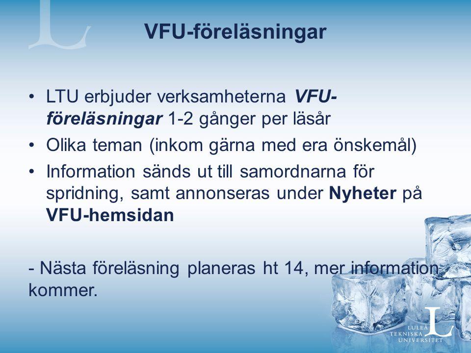 VFU-föreläsningar LTU erbjuder verksamheterna VFU- föreläsningar 1-2 gånger per läsår Olika teman (inkom gärna med era önskemål) Information sänds ut