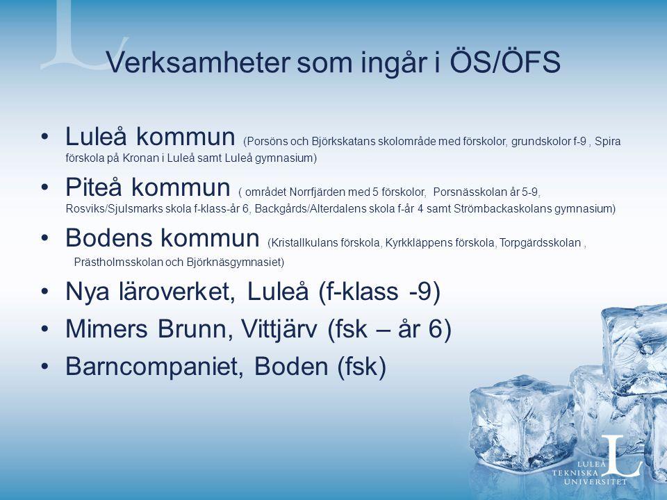 Verksamheter som ingår i ÖS/ÖFS Luleå kommun (Porsöns och Björkskatans skolområde med förskolor, grundskolor f-9, Spira förskola på Kronan i Luleå sam