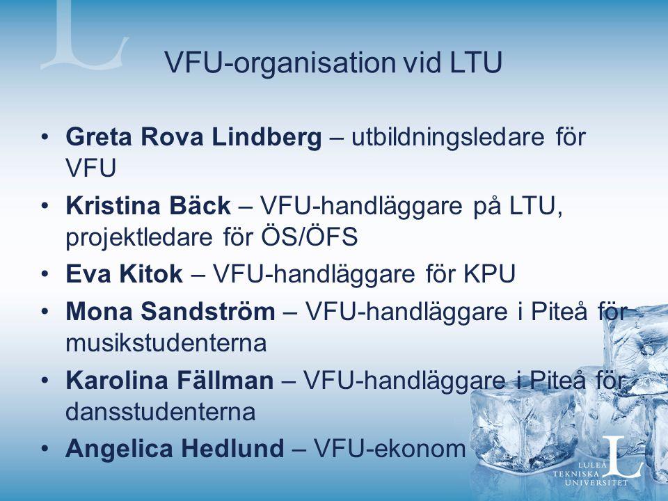 VFU-organisation vid LTU Greta Rova Lindberg – utbildningsledare för VFU Kristina Bäck – VFU-handläggare på LTU, projektledare för ÖS/ÖFS Eva Kitok –