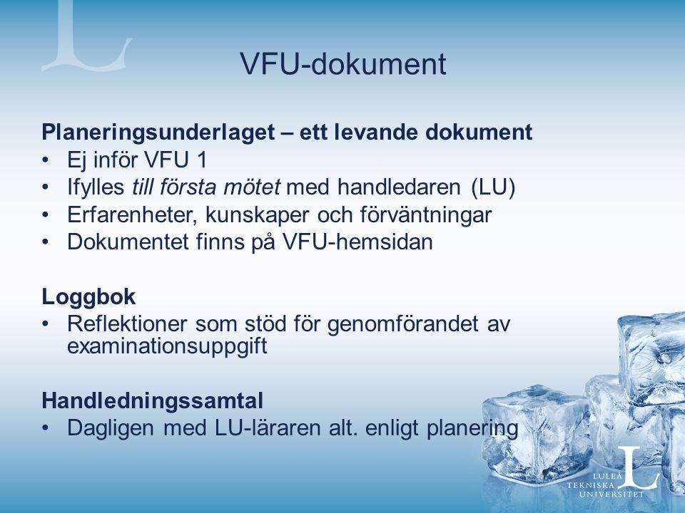VFU-dokument Planeringsunderlaget – ett levande dokument Ej inför VFU 1 Ifylles till första mötet med handledaren (LU) Erfarenheter, kunskaper och för