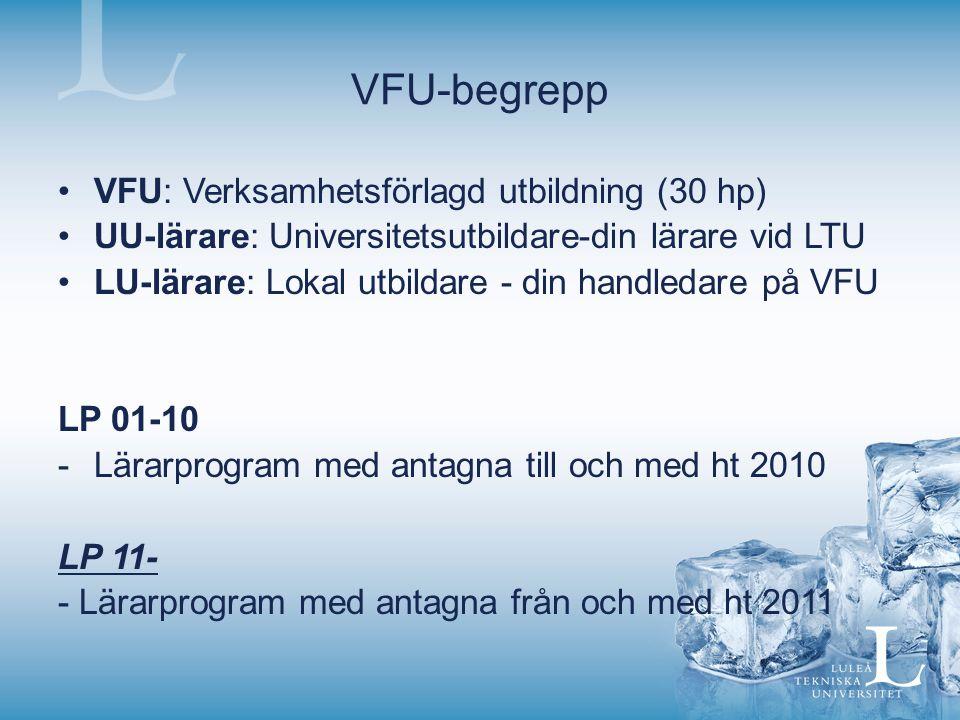VFU-begrepp VFU: Verksamhetsförlagd utbildning (30 hp) UU-lärare: Universitetsutbildare-din lärare vid LTU LU-lärare: Lokal utbildare - din handledare