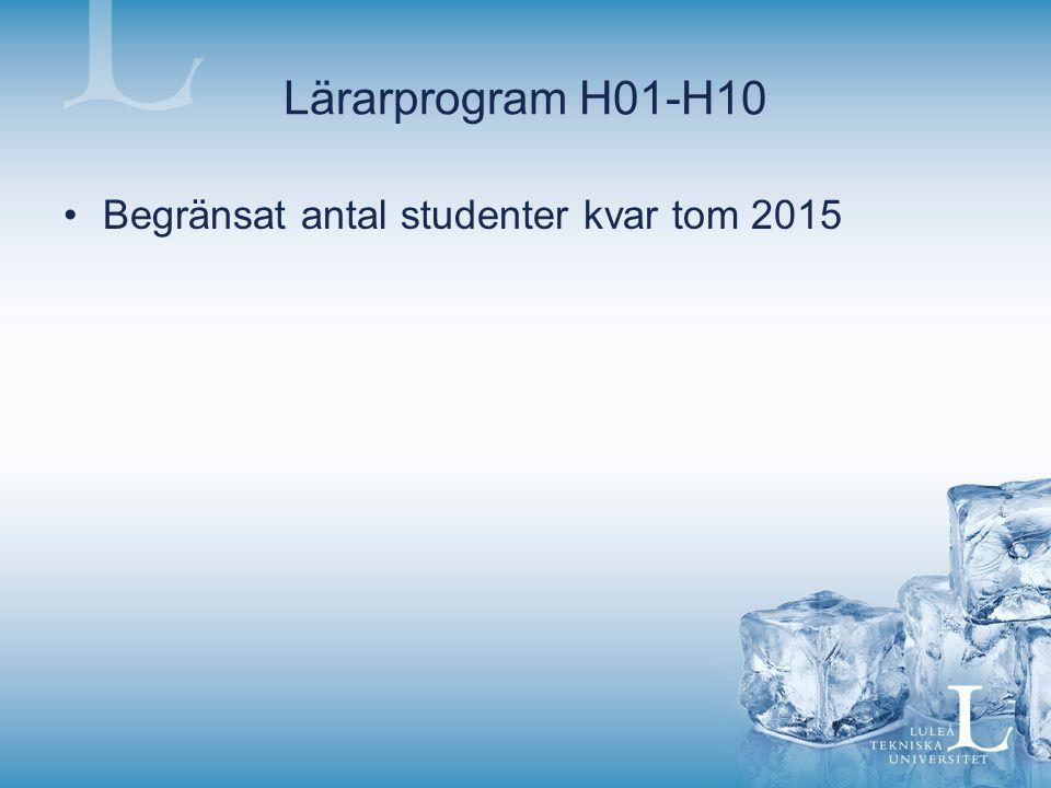 Lärarprogram H01-H10 Begränsat antal studenter kvar tom 2015
