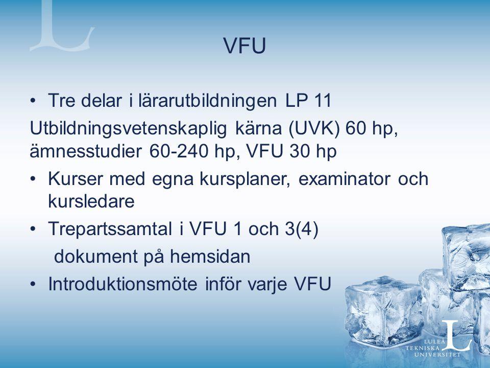 VFU Tre delar i lärarutbildningen LP 11 Utbildningsvetenskaplig kärna (UVK) 60 hp, ämnesstudier 60-240 hp, VFU 30 hp Kurser med egna kursplaner, exami