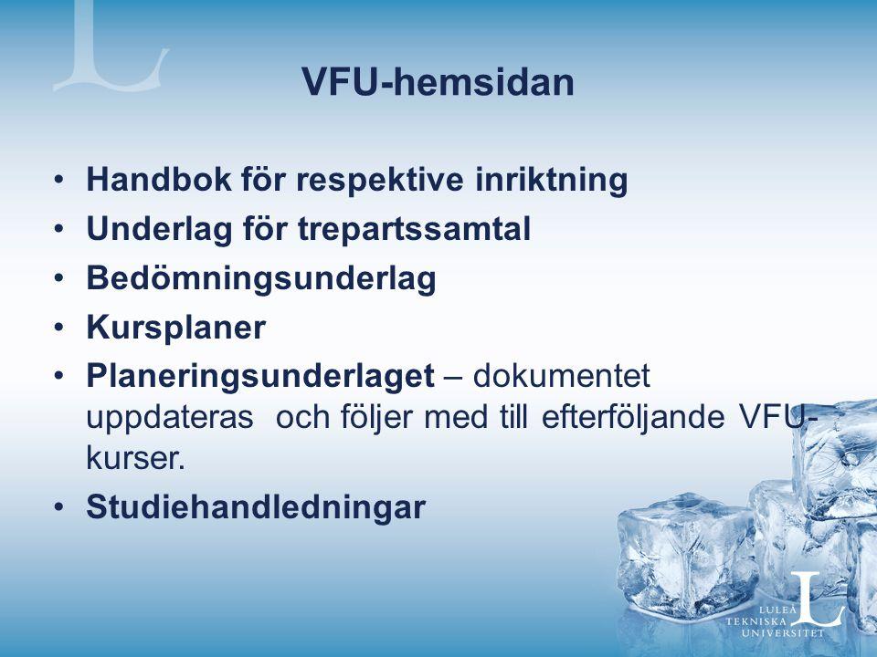VFU Introduktionsmöten inför alla VFU-kurser Strukturerat trepartssamtal genomförs under första och sista VFU:n – underlag finns på VFU-hemsidan Underkänd VFU/OM-VFU - Student som underkänts i VFU-kurs ges tillfälle till en OM-VFU.