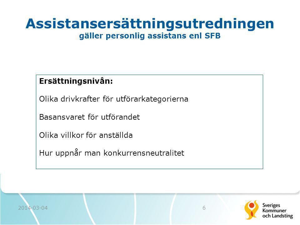 2014-03-046 Assistansersättningsutredningen gäller personlig assistans enl SFB Ersättningsnivån: Olika drivkrafter för utförarkategorierna Basansvaret