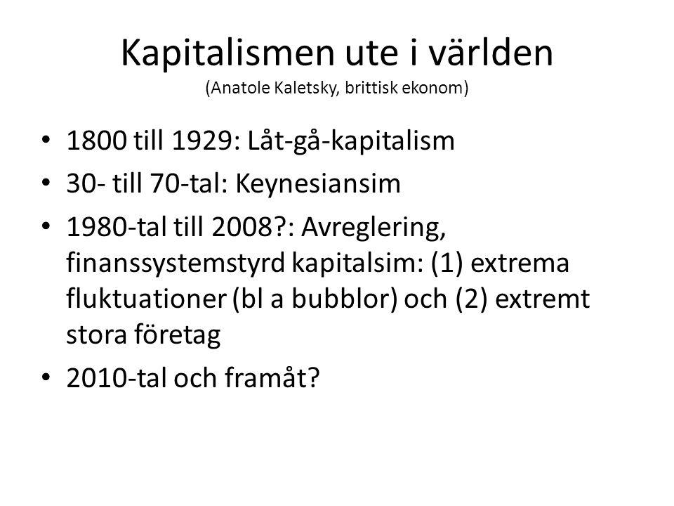 Kapitalismen ute i världen (Anatole Kaletsky, brittisk ekonom) 1800 till 1929: Låt-gå-kapitalism 30- till 70-tal: Keynesiansim 1980-tal till 2008 : Avreglering, finanssystemstyrd kapitalsim: (1) extrema fluktuationer (bl a bubblor) och (2) extremt stora företag 2010-tal och framåt