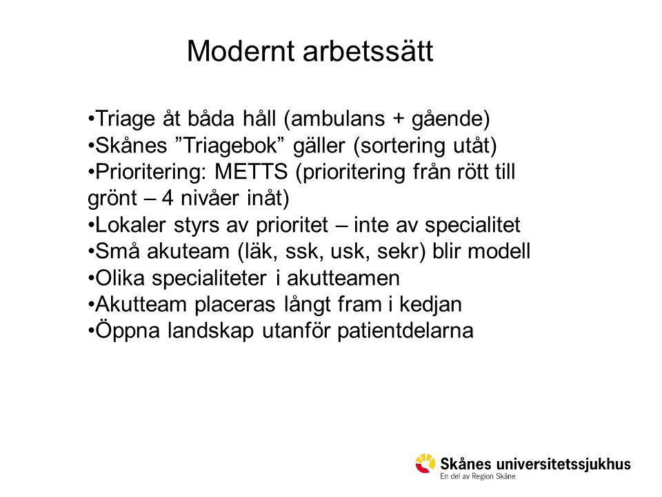"""Triage åt båda håll (ambulans + gående) Skånes """"Triagebok"""" gäller (sortering utåt) Prioritering: METTS (prioritering från rött till grönt – 4 nivåer i"""