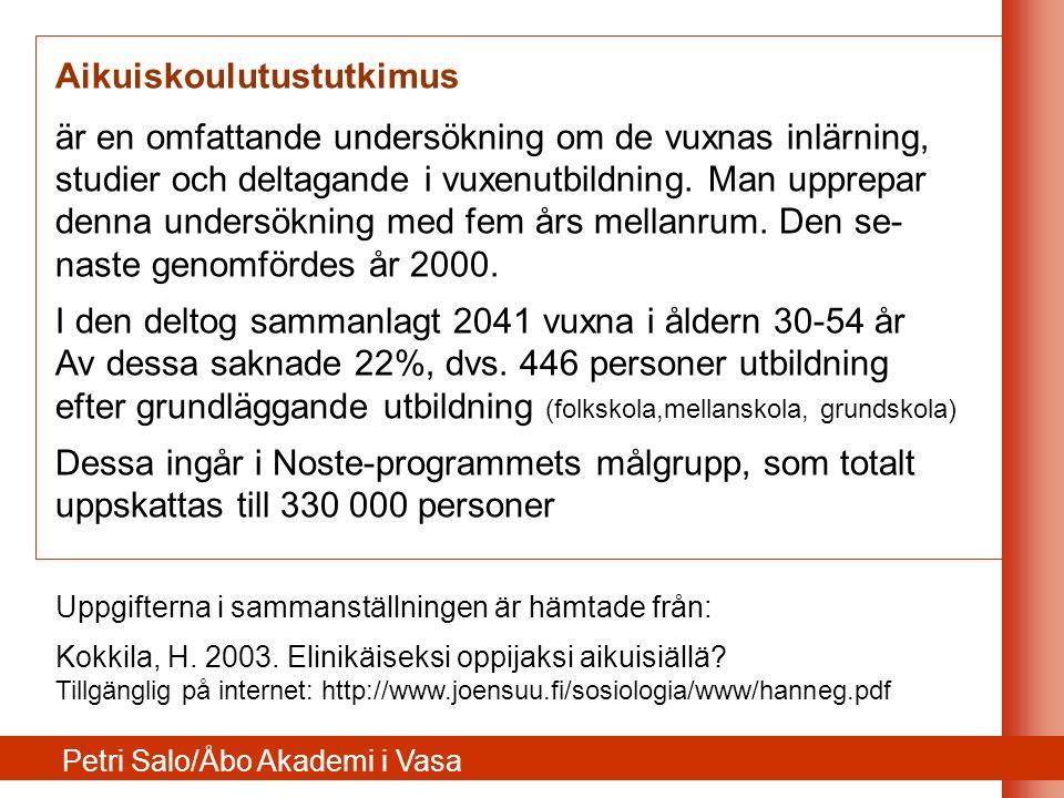 ÅlderAndelAlla 30-54 år 30-3414%18% 35-3911%20% 40-4415%20% 45-4925%21% 50-5435%21% YrkesverksamhetAndelAlla 30-54 år Löntagare54%68% Företagare11%9% Jordbrukare5%4% Arbetslös/perm.13%9% Pensionerad12%5% Målgruppen i Noste-programmet enligt AKU2000-undersökningen Petri Salo/Åbo Akademi i Vasa