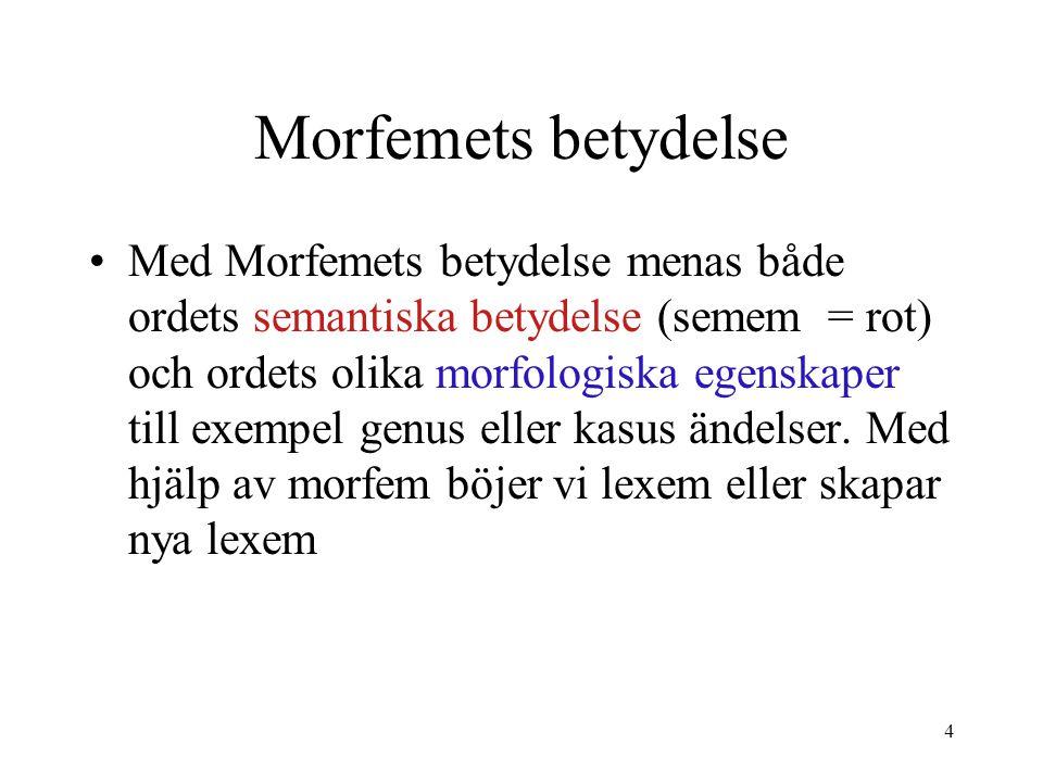4 Morfemets betydelse Med Morfemets betydelse menas både ordets semantiska betydelse (semem = rot) och ordets olika morfologiska egenskaper till exemp