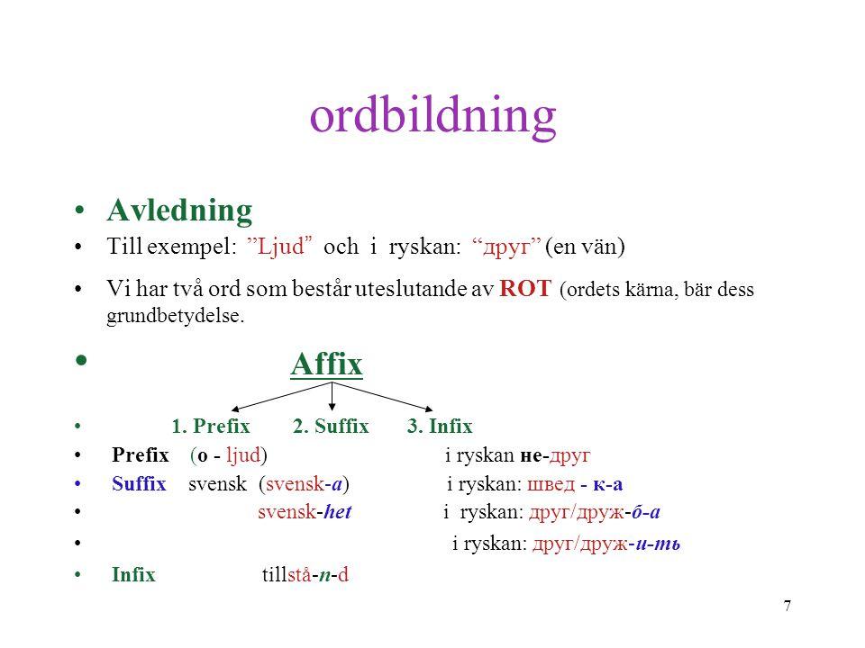 """7 ordbildning Avledning Till exempel: """"Ljud """" och i ryskan: """"друг"""" (en vän) Vi har två ord som består uteslutande av ROT (ordets kärna, bär dess grund"""