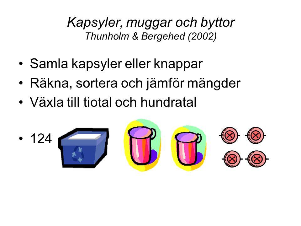 Kapsyler, muggar och byttor Thunholm & Bergehed (2002) Samla kapsyler eller knappar Räkna, sortera och jämför mängder Växla till tiotal och hundratal