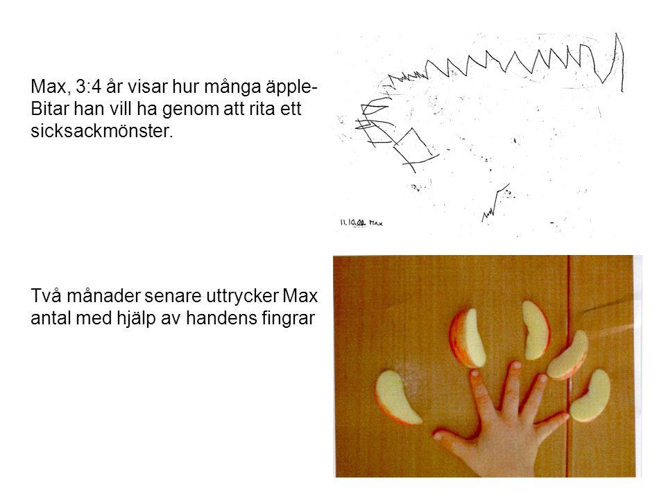 Max, 3:4 år visar hur många äpple- Bitar han vill ha genom att rita ett sicksackmönster. Två månader senare uttrycker Max antal med hjälp av handens f