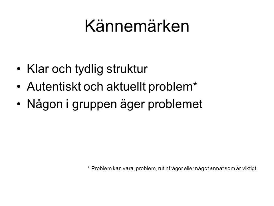 Kännemärken Klar och tydlig struktur Autentiskt och aktuellt problem* Någon i gruppen äger problemet * Problem kan vara, problem, rutinfrågor eller nå