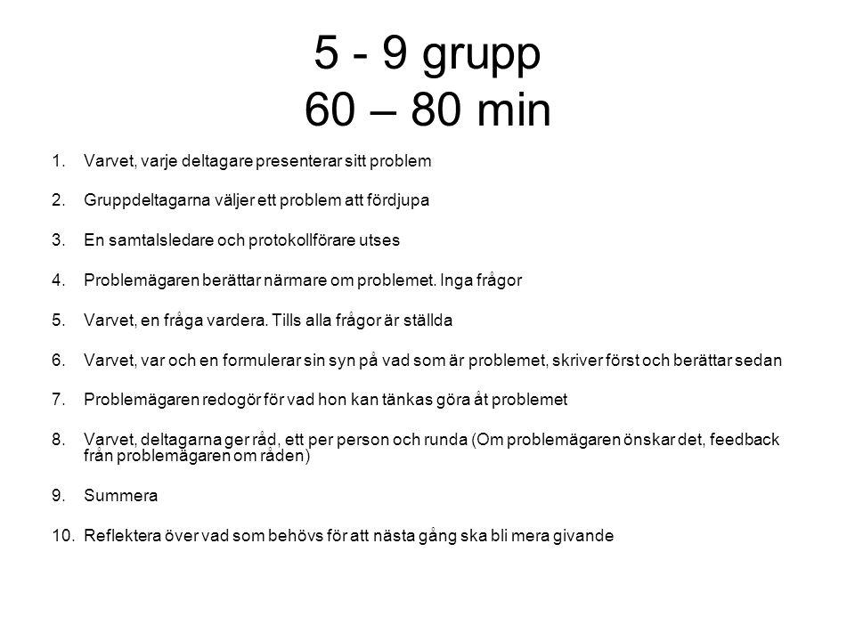 5 - 9 grupp 60 – 80 min 1.Varvet, varje deltagare presenterar sitt problem 2.Gruppdeltagarna väljer ett problem att fördjupa 3.En samtalsledare och pr