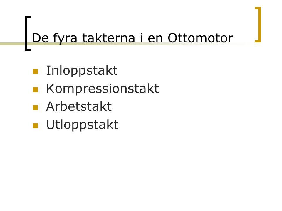 De fyra takterna i en Ottomotor Inloppstakt Kompressionstakt Arbetstakt Utloppstakt