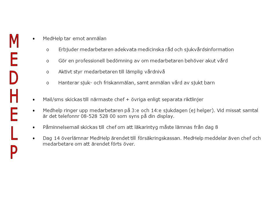 MedHelp tar emot anmälan o Erbjuder medarbetaren adekvata medicinska råd och sjukvårdsinformation o Gör en professionell bedömning av om medarbetaren