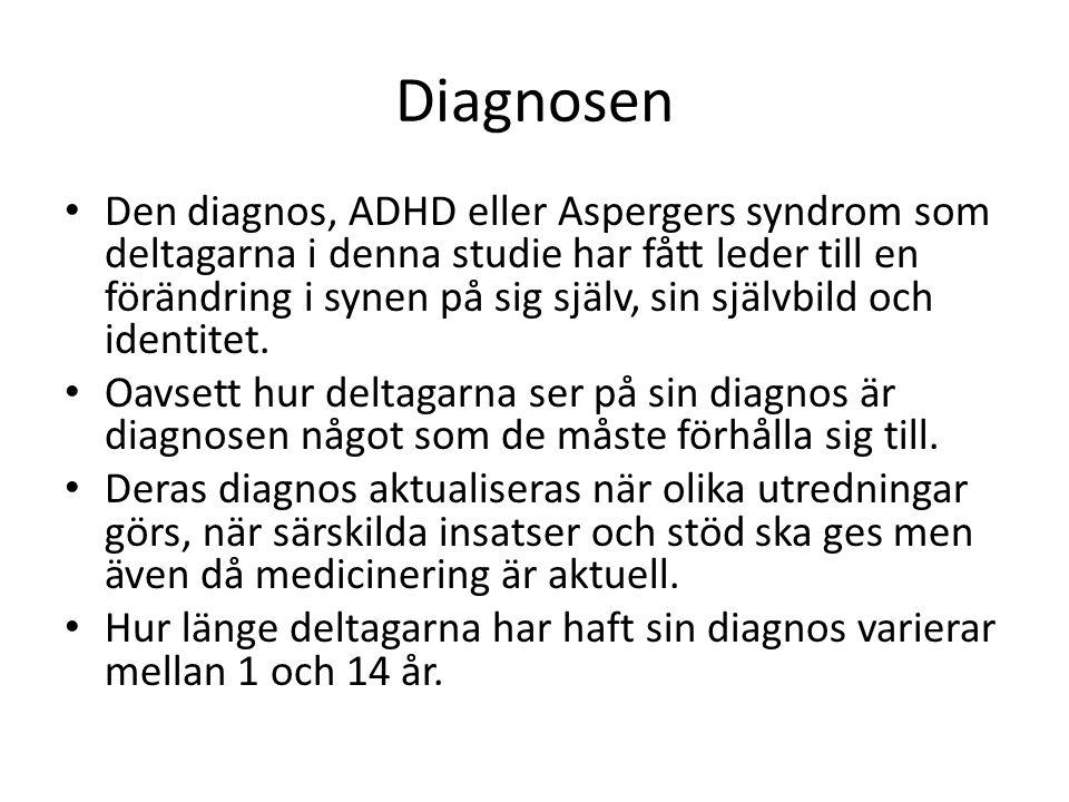 Diagnosen Den diagnos, ADHD eller Aspergers syndrom som deltagarna i denna studie har fått leder till en förändring i synen på sig själv, sin självbil