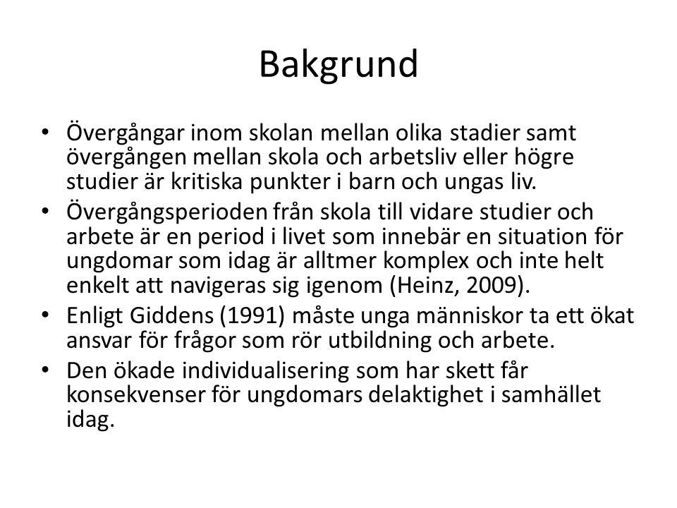 Enligt Lindqvist (2007) är övergången till arbetslivet problematisk för ungdomar med funktionshinder.