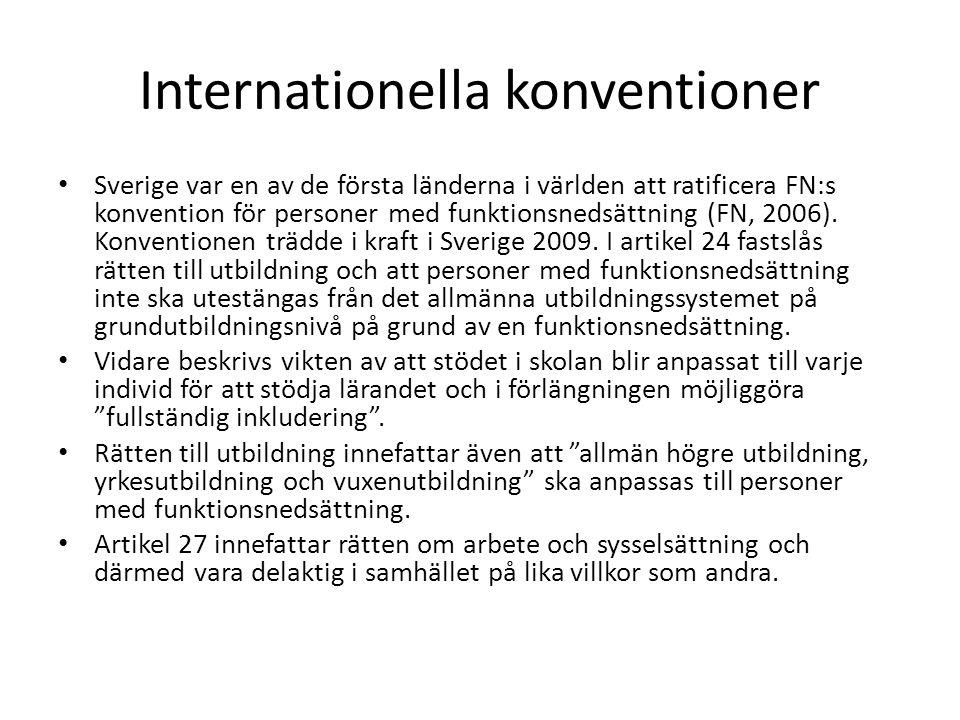 Internationella konventioner Sverige var en av de första länderna i världen att ratificera FN:s konvention för personer med funktionsnedsättning (FN,