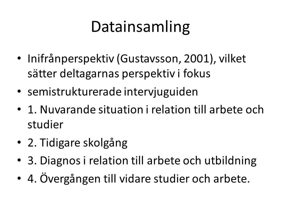 Datainsamling Inifrånperspektiv (Gustavsson, 2001), vilket sätter deltagarnas perspektiv i fokus semistrukturerade intervjuguiden 1. Nuvarande situati
