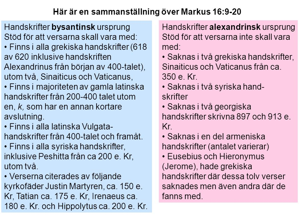 Handskrifter bysantinsk ursprung Stöd för att versarna skall vara med: Finns i alla grekiska handskrifter (618 av 620 inklusive handskriften Alexandri