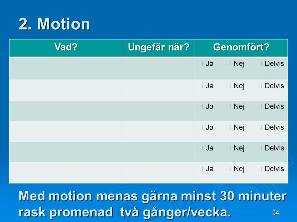 34 Med motion menas gärna minst 30 minuter rask promenad två gånger/vecka. 2. Motion Vad? Ungefär när? Genomfört?  Ja  Nej  Delvis