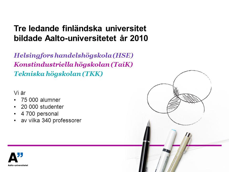 Tre ledande finländska universitet bildade Aalto-universitetet år 2010 Helsingfors handelshögskola (HSE) Konstindustriella högskolan (TaiK) Tekniska h