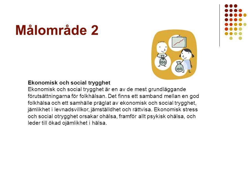 Målområde 2 Ekonomisk och social trygghet Ekonomisk och social trygghet är en av de mest grundläggande förutsättningarna för folkhälsan.