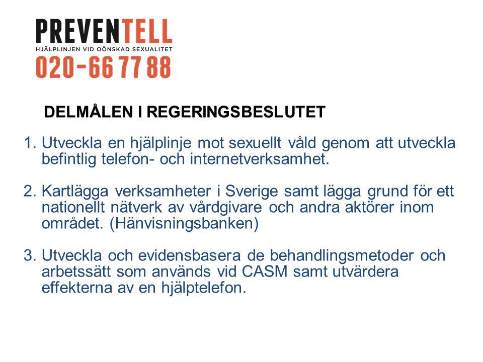 DELMÅLEN I REGERINGSBESLUTET 1.Utveckla en hjälplinje mot sexuellt våld genom att utveckla befintlig telefon- och internetverksamhet.