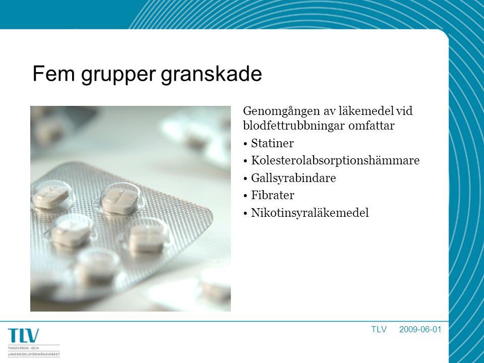 Fem grupper granskade Genomgången av läkemedel vid blodfettrubbningar omfattar Statiner Kolesterolabsorptionshämmare Gallsyrabindare Fibrater Nikotins