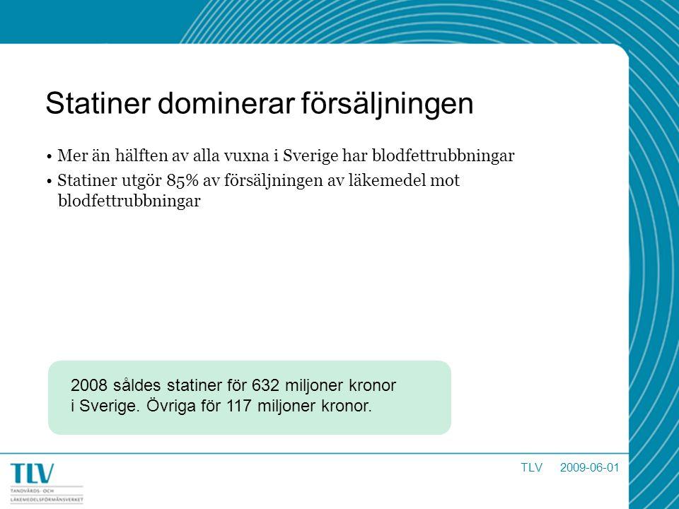 Statiner dominerar försäljningen Mer än hälften av alla vuxna i Sverige har blodfettrubbningar Statiner utgör 85% av försäljningen av läkemedel mot bl