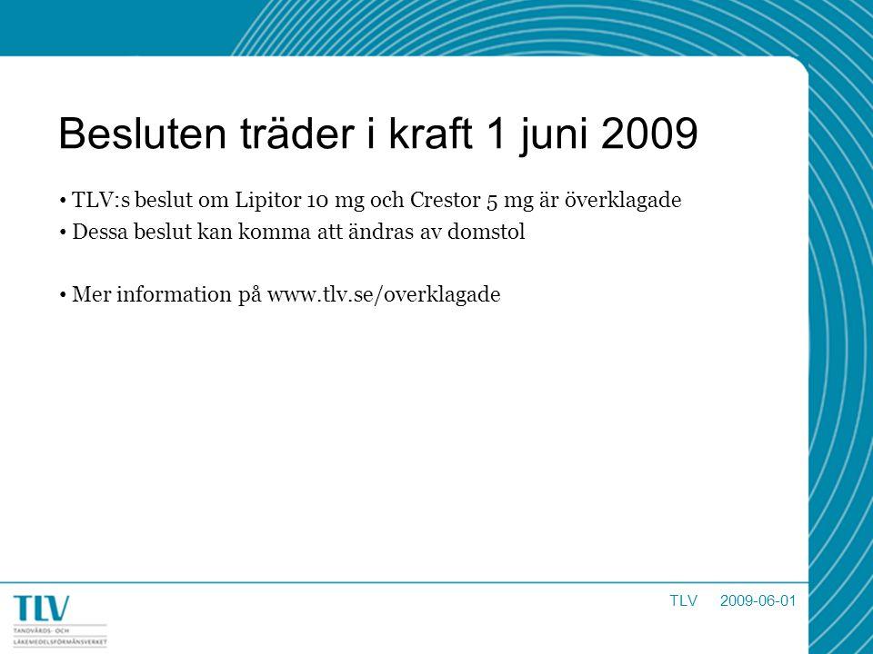 Besluten träder i kraft 1 juni 2009 TLV:s beslut om Lipitor 10 mg och Crestor 5 mg är överklagade Dessa beslut kan komma att ändras av domstol Mer inf