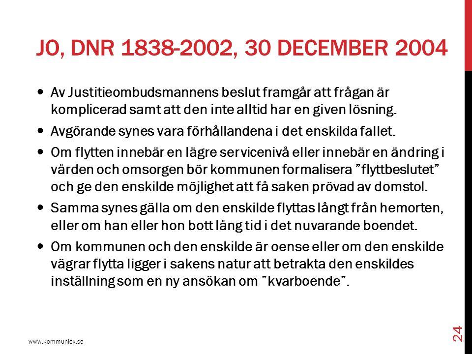 JO, DNR 1838-2002, 30 DECEMBER 2004 www.kommunlex.se 24 Av Justitieombudsmannens beslut framgår att frågan är komplicerad samt att den inte alltid har