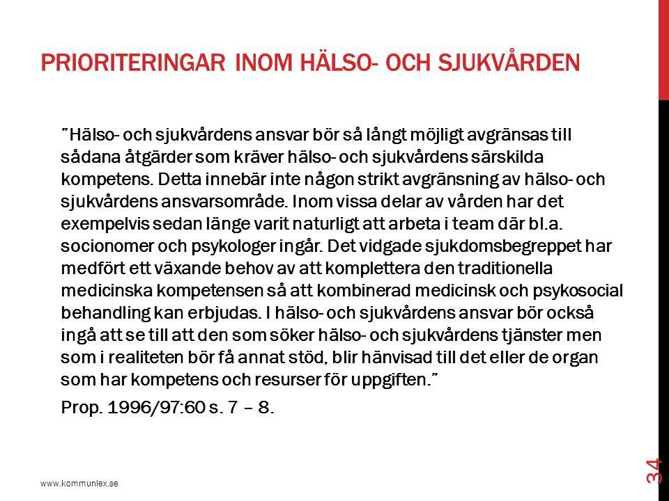 """PRIORITERINGAR INOM HÄLSO- OCH SJUKVÅRDEN www.kommunlex.se 34 """"Hälso- och sjukvårdens ansvar bör så långt möjligt avgränsas till sådana åtgärder som k"""