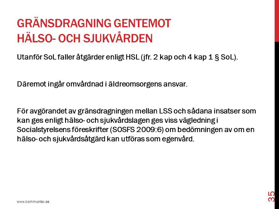 GRÄNSDRAGNING GENTEMOT HÄLSO- OCH SJUKVÅRDEN www.kommunlex.se 35 Utanför SoL faller åtgärder enligt HSL (jfr. 2 kap och 4 kap 1 § SoL). Däremot ingår