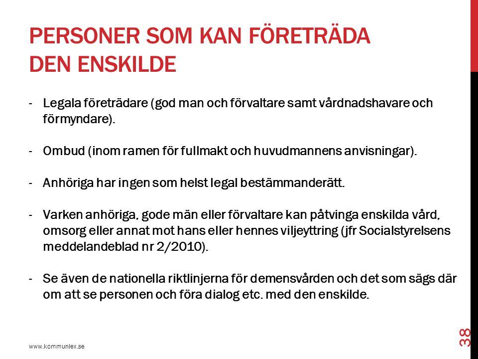 PERSONER SOM KAN FÖRETRÄDA DEN ENSKILDE -Legala företrädare (god man och förvaltare samt vårdnadshavare och förmyndare). -Ombud (inom ramen för fullma