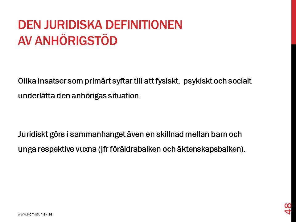 DEN JURIDISKA DEFINITIONEN AV ANHÖRIGSTÖD www.kommunlex.se 48 Olika insatser som primärt syftar till att fysiskt, psykiskt och socialt underlätta den