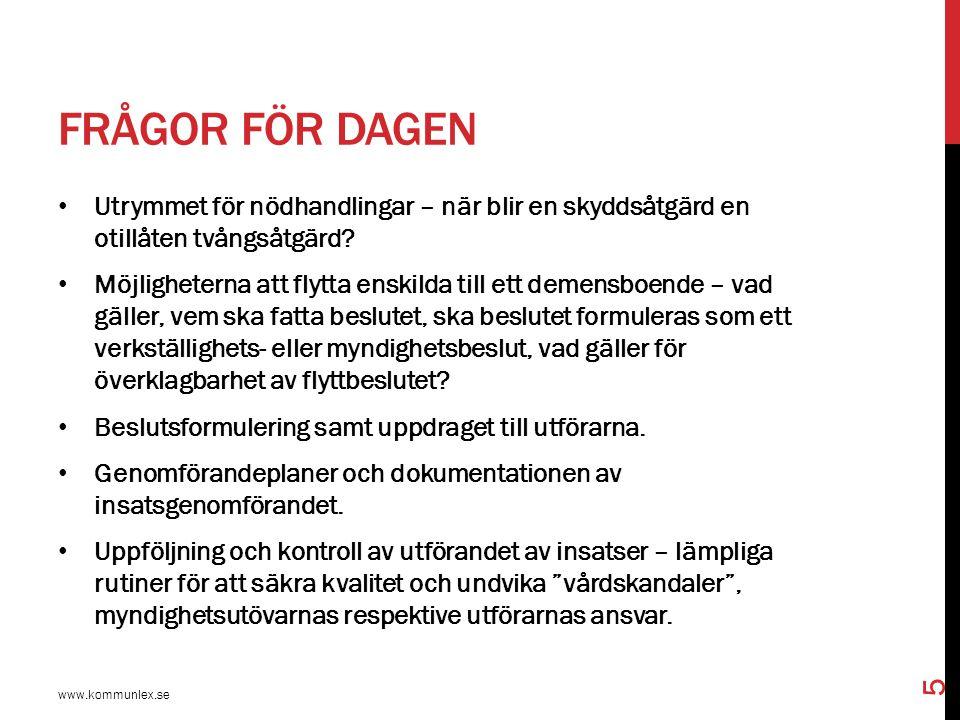 RÄTTSPOLITISKA UTGÅNGSPUNKTER www.kommunlex.se 46 Vanligt att anhöriga ger vård och stöd, även om insatser ges från socialtjänsten.