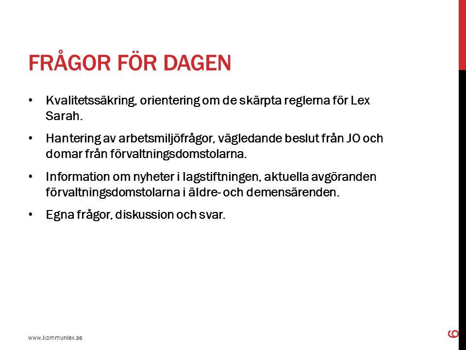 JURIDISKA OCH ANDRA UTGÅNGSPUNKTER www.kommunlex.se 7 Författningsregleringen i socialtjänstlagen samt hälso- och sjukvårdslagen m.fl.