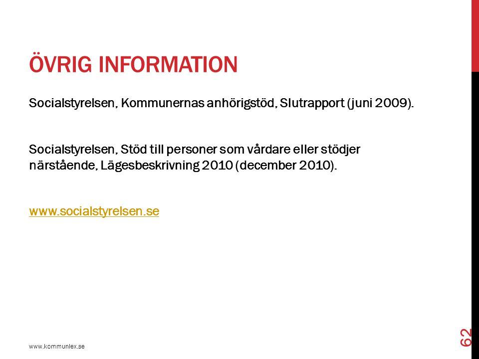 ÖVRIG INFORMATION www.kommunlex.se 62 Socialstyrelsen, Kommunernas anhörigstöd, Slutrapport (juni 2009). Socialstyrelsen, Stöd till personer som vårda