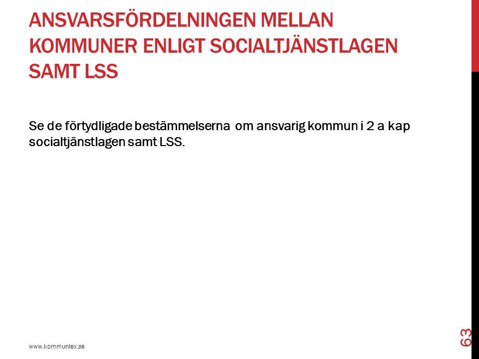 ANSVARSFÖRDELNINGEN MELLAN KOMMUNER ENLIGT SOCIALTJÄNSTLAGEN SAMT LSS www.kommunlex.se 63 Se de förtydligade bestämmelserna om ansvarig kommun i 2 a k