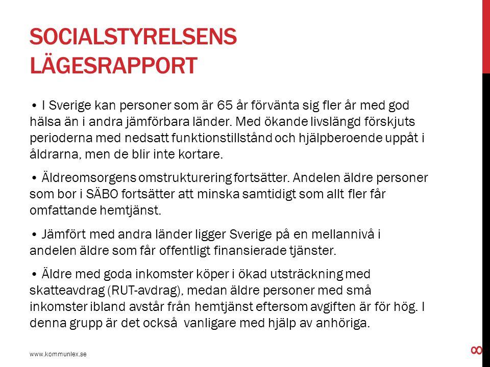 SOCIALSTYRELSENS LÄGESRAPPORT I Sverige kan personer som är 65 år förvänta sig fler år med god hälsa än i andra jämförbara länder. Med ökande livsläng