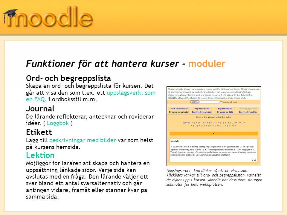 Funktioner för att hantera kurser - moduler Ord- och begreppslista Skapa en ord- och begreppslista för kursen.