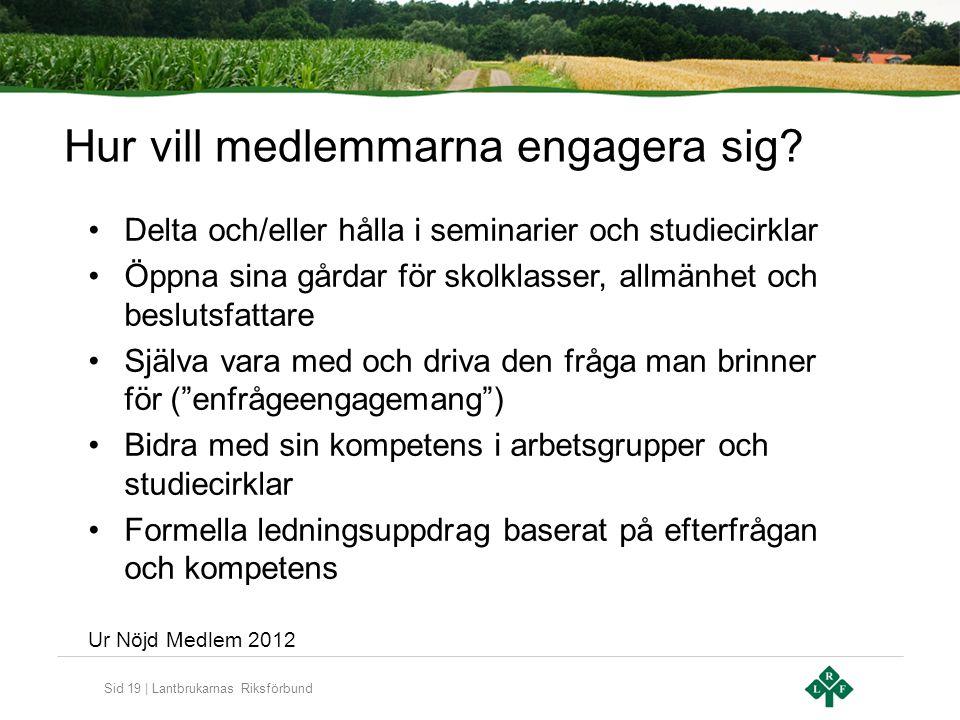 Sid 19 | Lantbrukarnas Riksförbund Hur vill medlemmarna engagera sig.