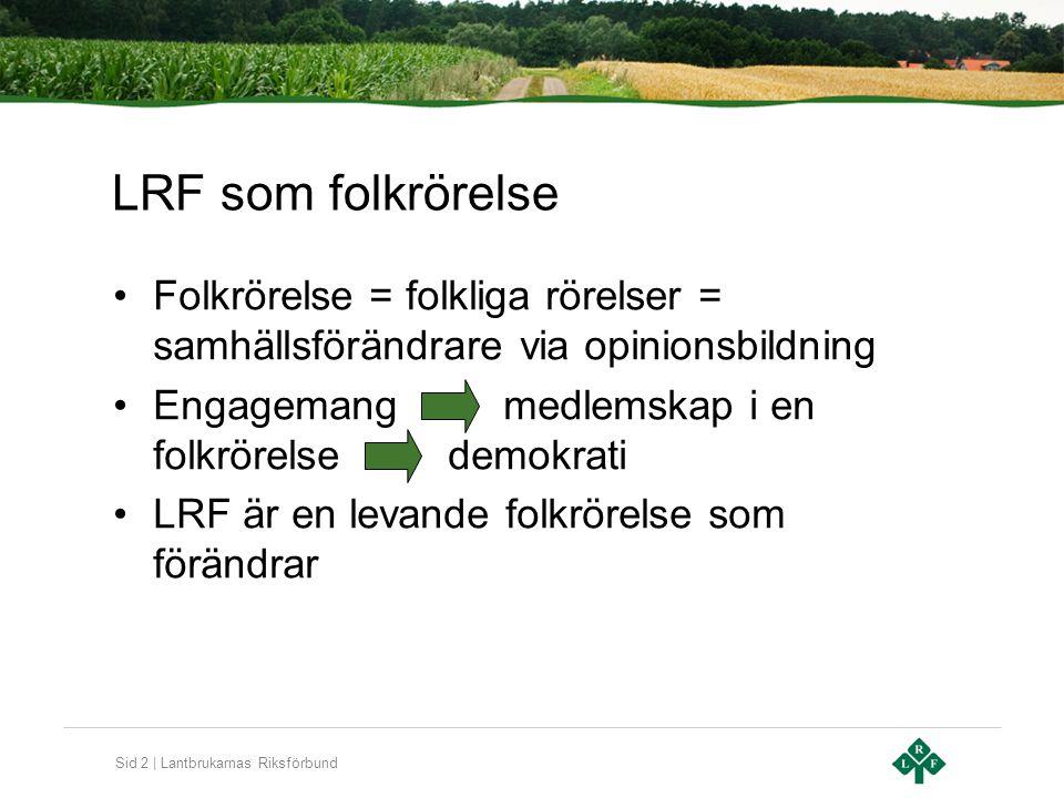 Sid 2 | Lantbrukarnas Riksförbund LRF som folkrörelse Folkrörelse = folkliga rörelser = samhällsförändrare via opinionsbildning Engagemang medlemskap i en folkrörelse demokrati LRF är en levande folkrörelse som förändrar
